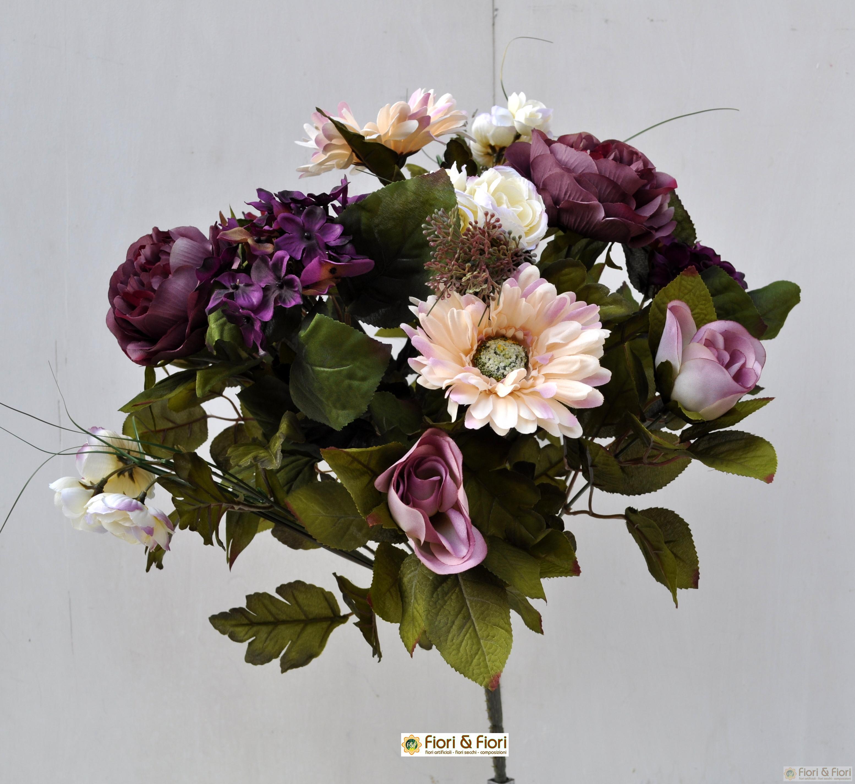 Bouquet fiori artificiali gerbera country viola