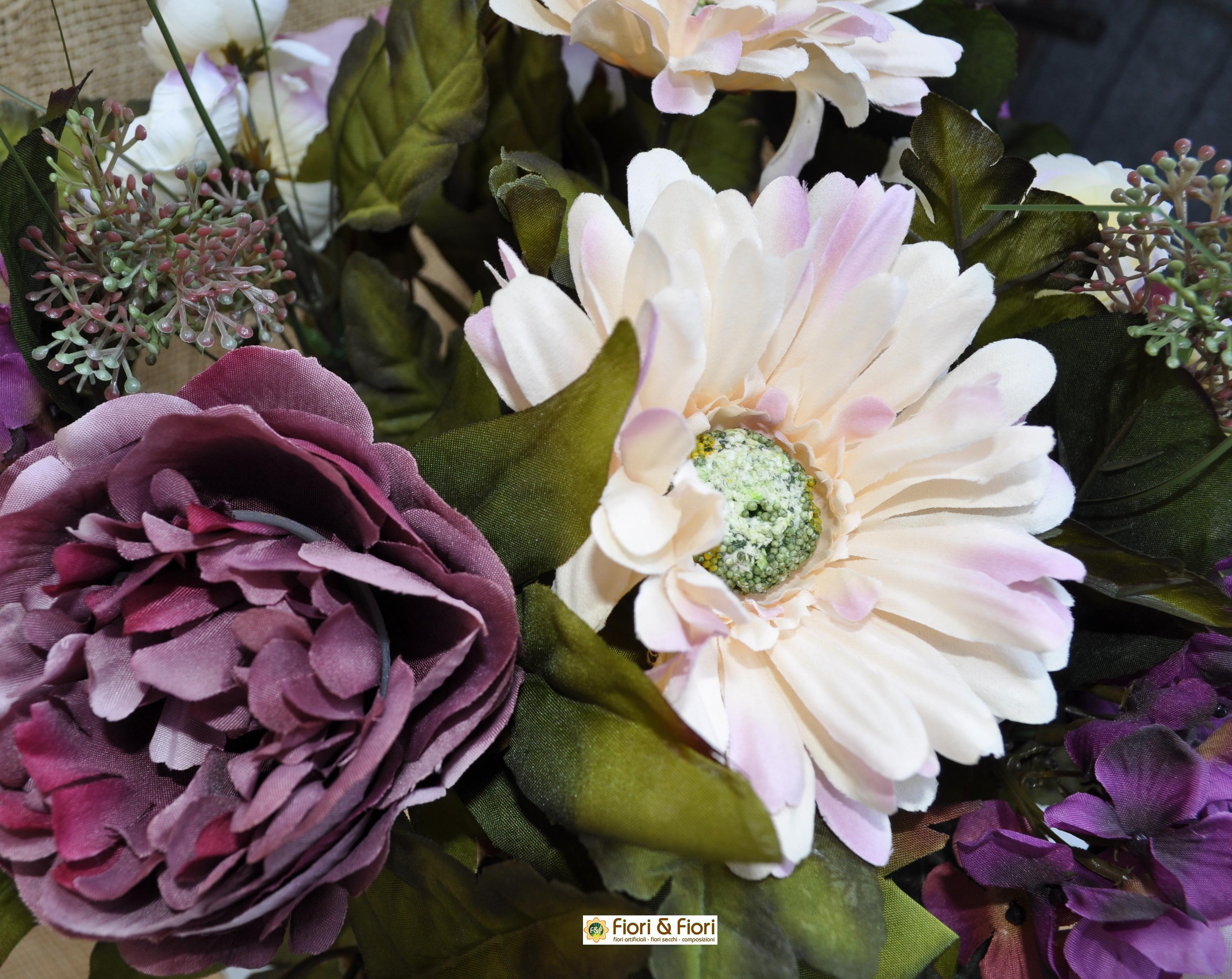 Bouquet fiori artificiali gerbera country viola for Fiori artificiali