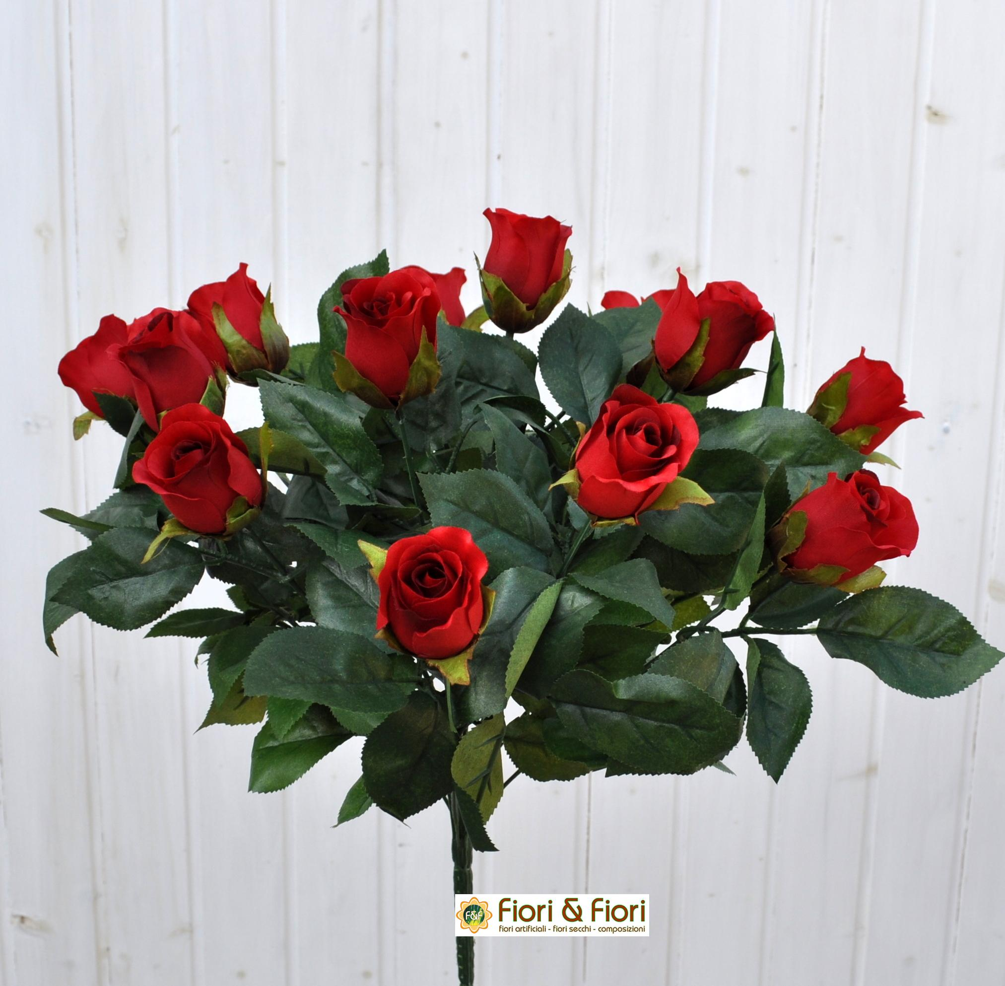 Bouquet fiori artificiali rose paris rosse