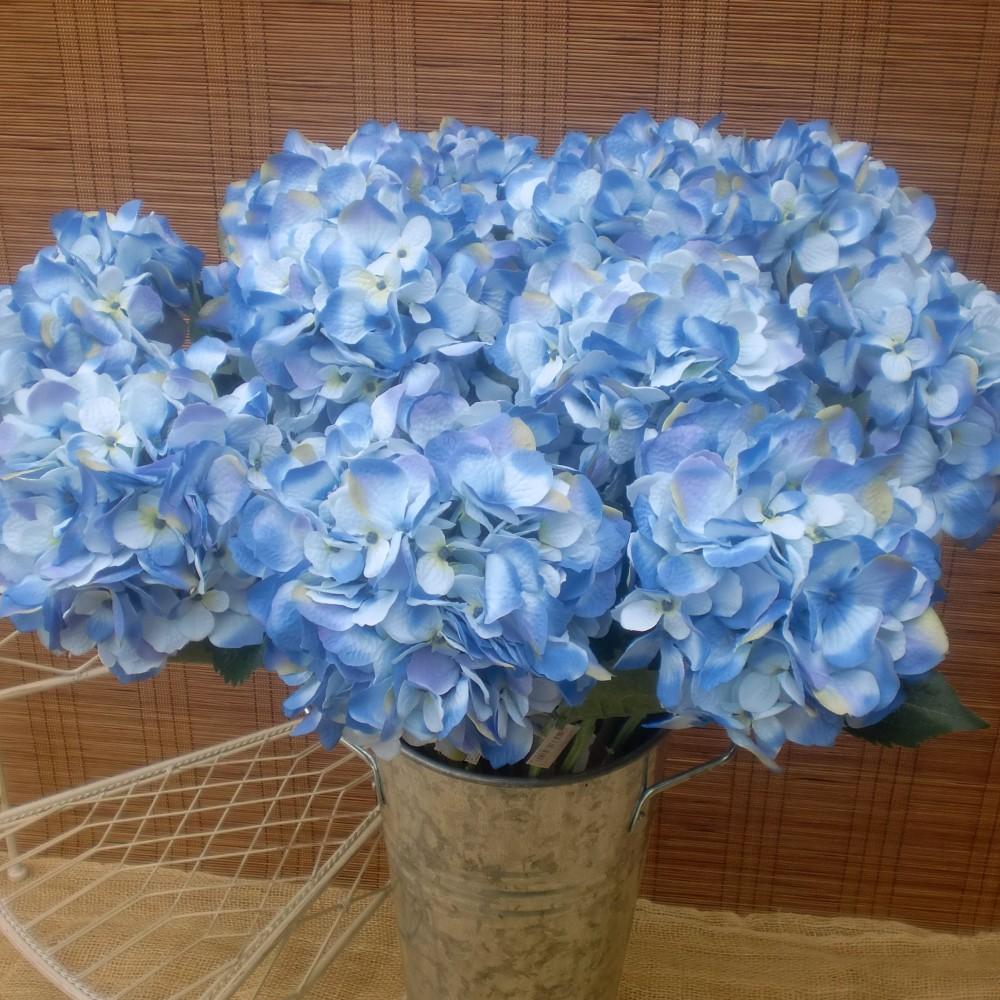 Matrimonio Azzurro Ortensia : Fiore artificiale di ortensia azzurra in tessuto ottima