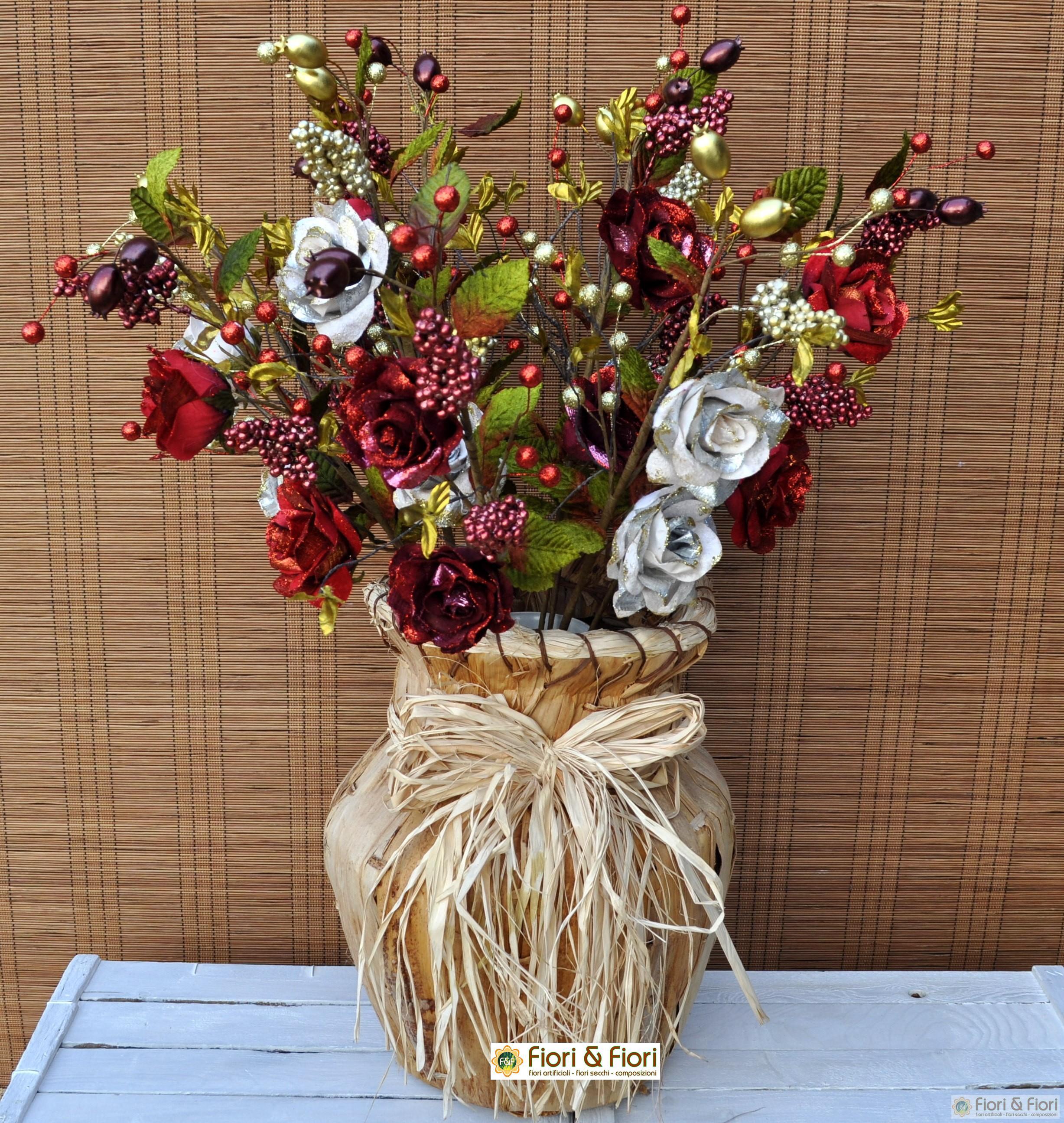 Ramo di rosa glitter fucsia artificiale per decorazioni - Decorazioni fiori finti ...