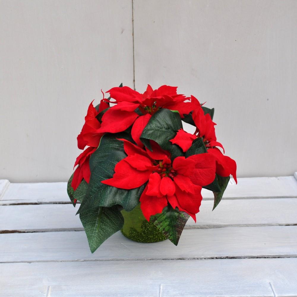 Vaso stella di natale artificiale in tessuto fiori fiori for Stelle di natale