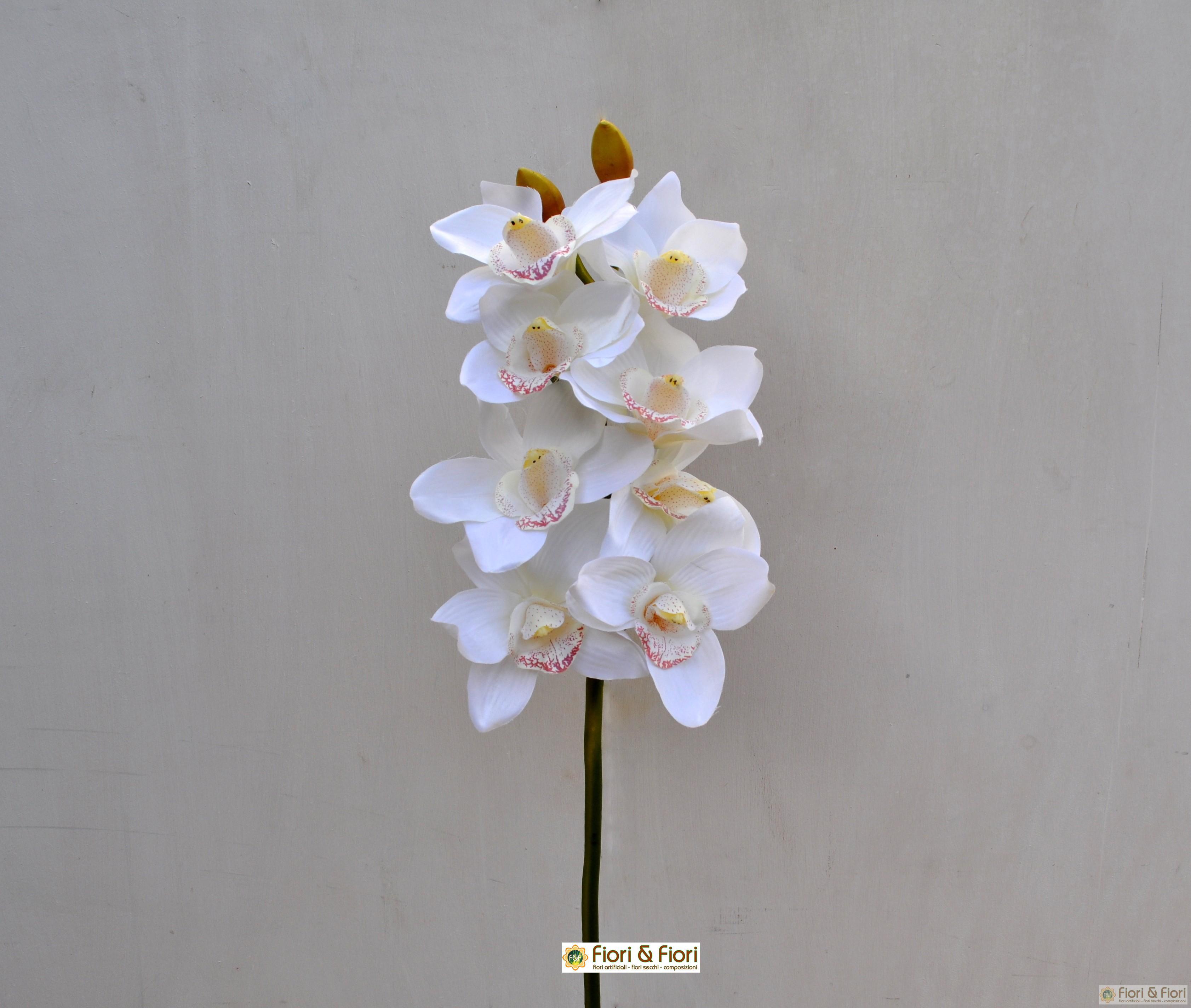 Fiore finto di orchidea cymbidium elegant bianco for Orchidea finta