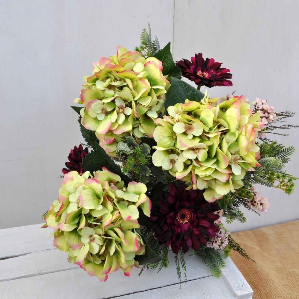 Bouquet di fiori artificiali ortensie e gerbera fiori for Fiori gerbere