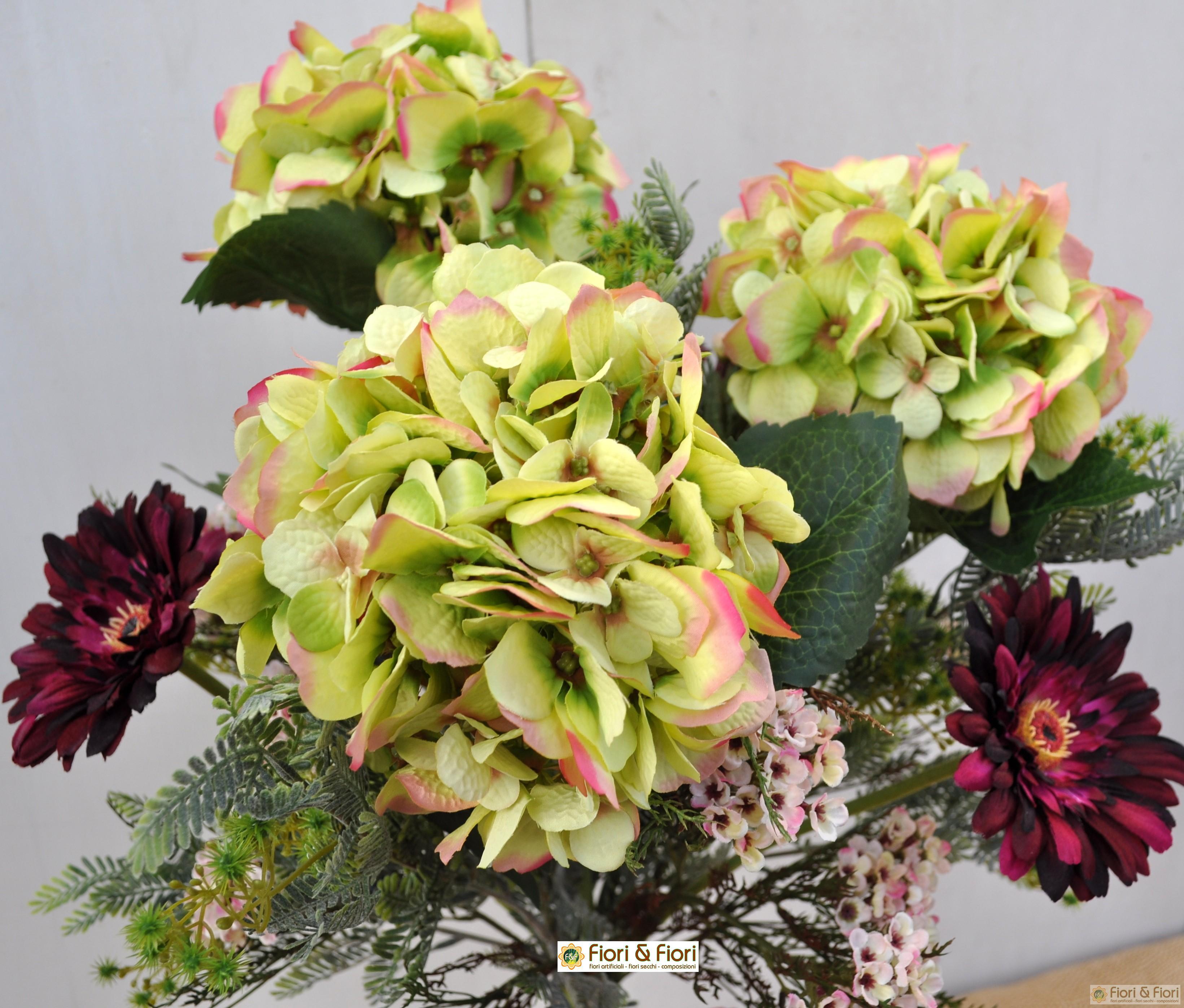 Ortensie Finte Prezzo : Bouquet di fiori artificiali quot ortensie e gerbera