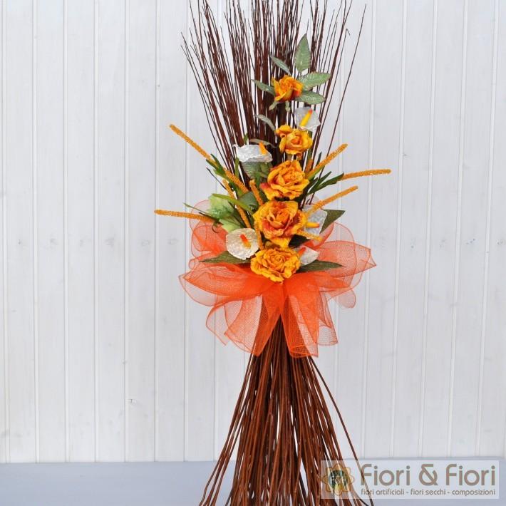 Decorazione fiori artificiali rosita arancio fiori fiori for Arredare con fiori finti