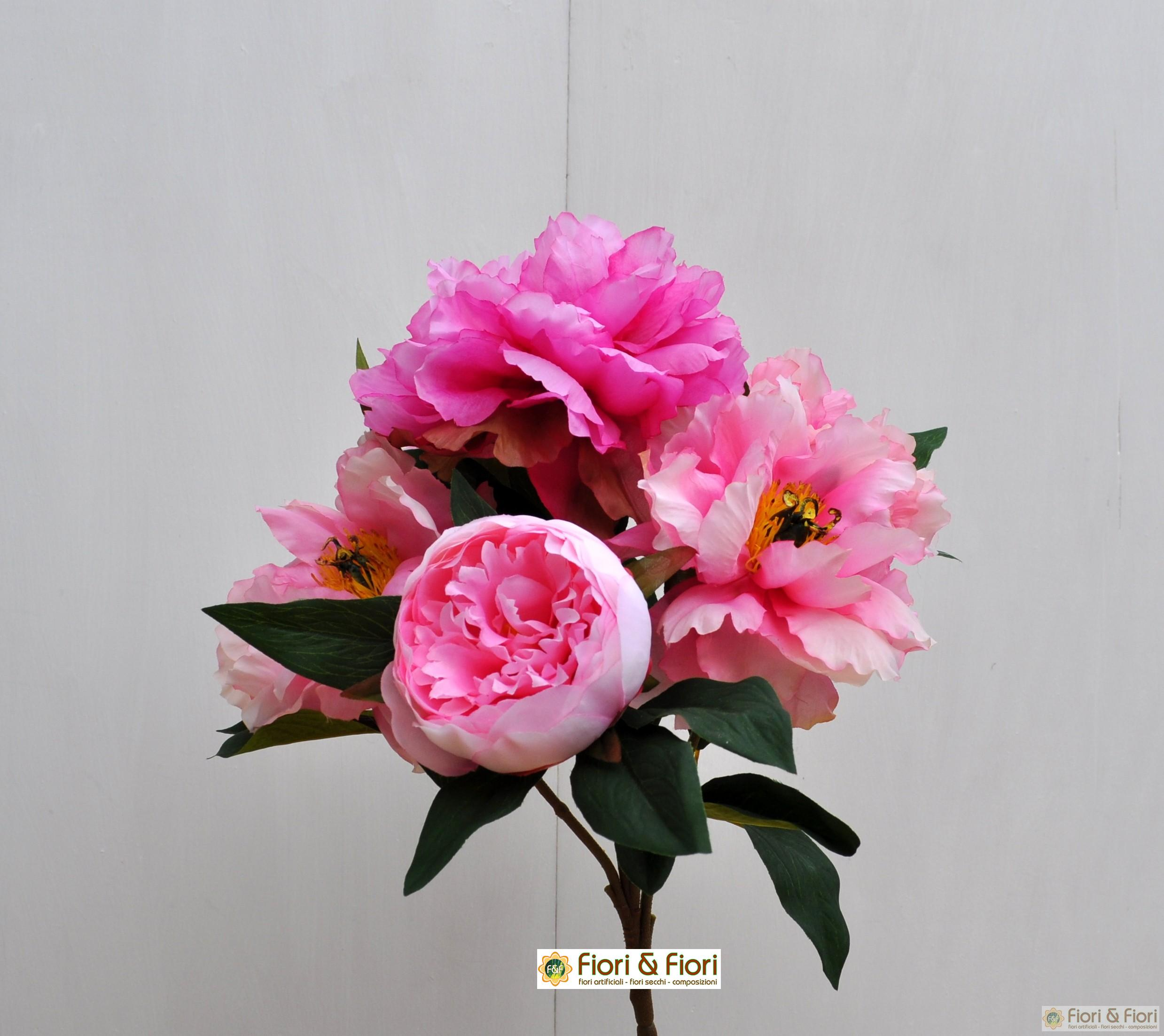 Bouquet di fiori artificiali peonia queen rosa