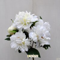 Bouquet fiori artificiali peonia queen bianco
