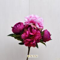 Bouquet di fiori artificiali peonia queen fucsia