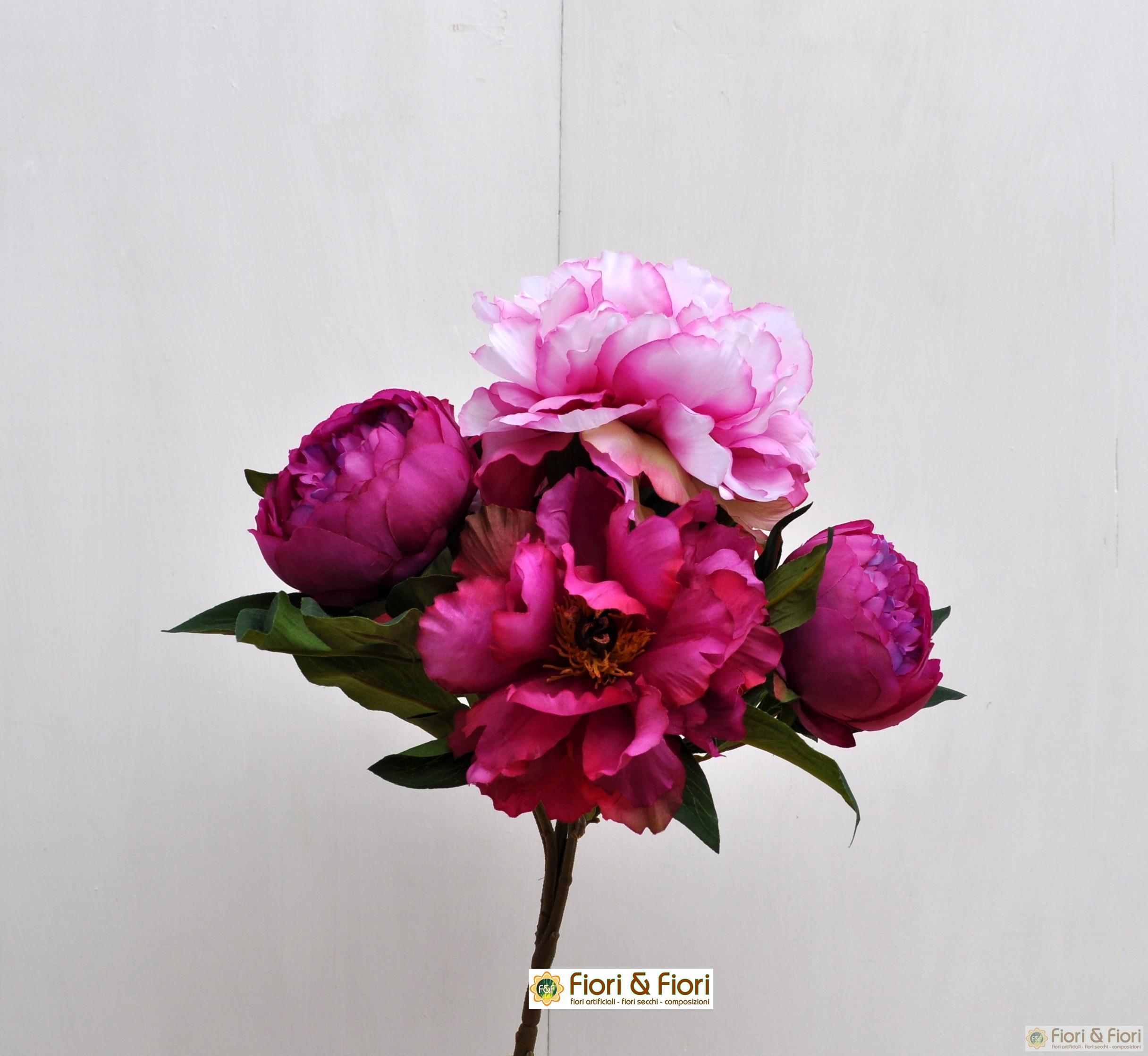Bouquet di fiori artificiali peonia queen fucsia