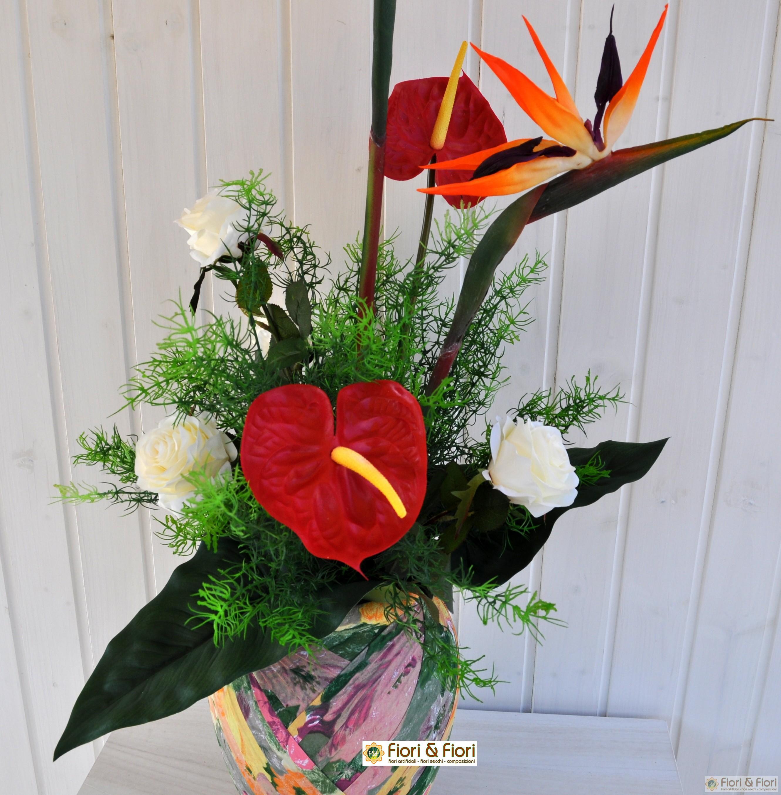 Bouquet di fiori artificiali esotic sia da interno che esterno for Fiori ornamentali da esterno