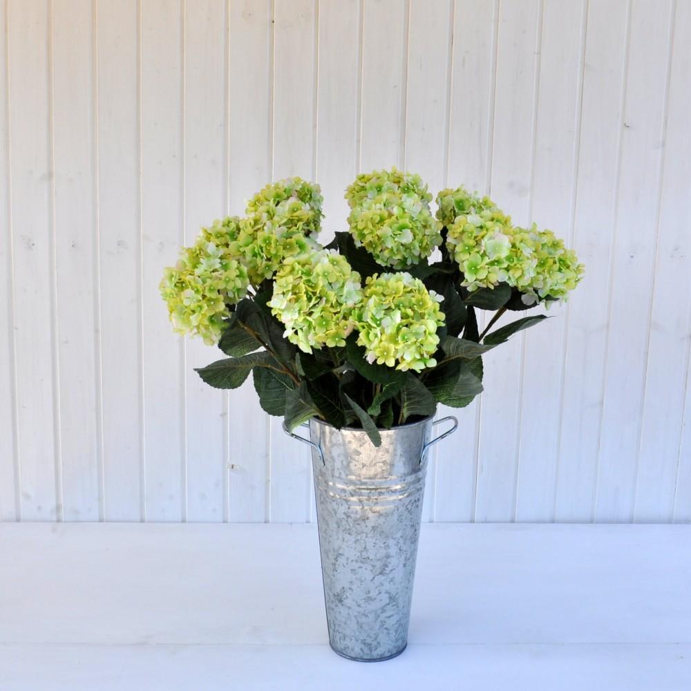 Fiore artificiale ortensia alice verde sia da interno che for Pianta da pavimento verde