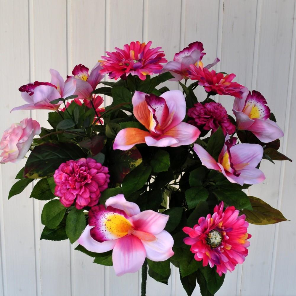 Bouquet fiori artificiali gerbera orchidea rosa fiori fiori for Orchidea finta
