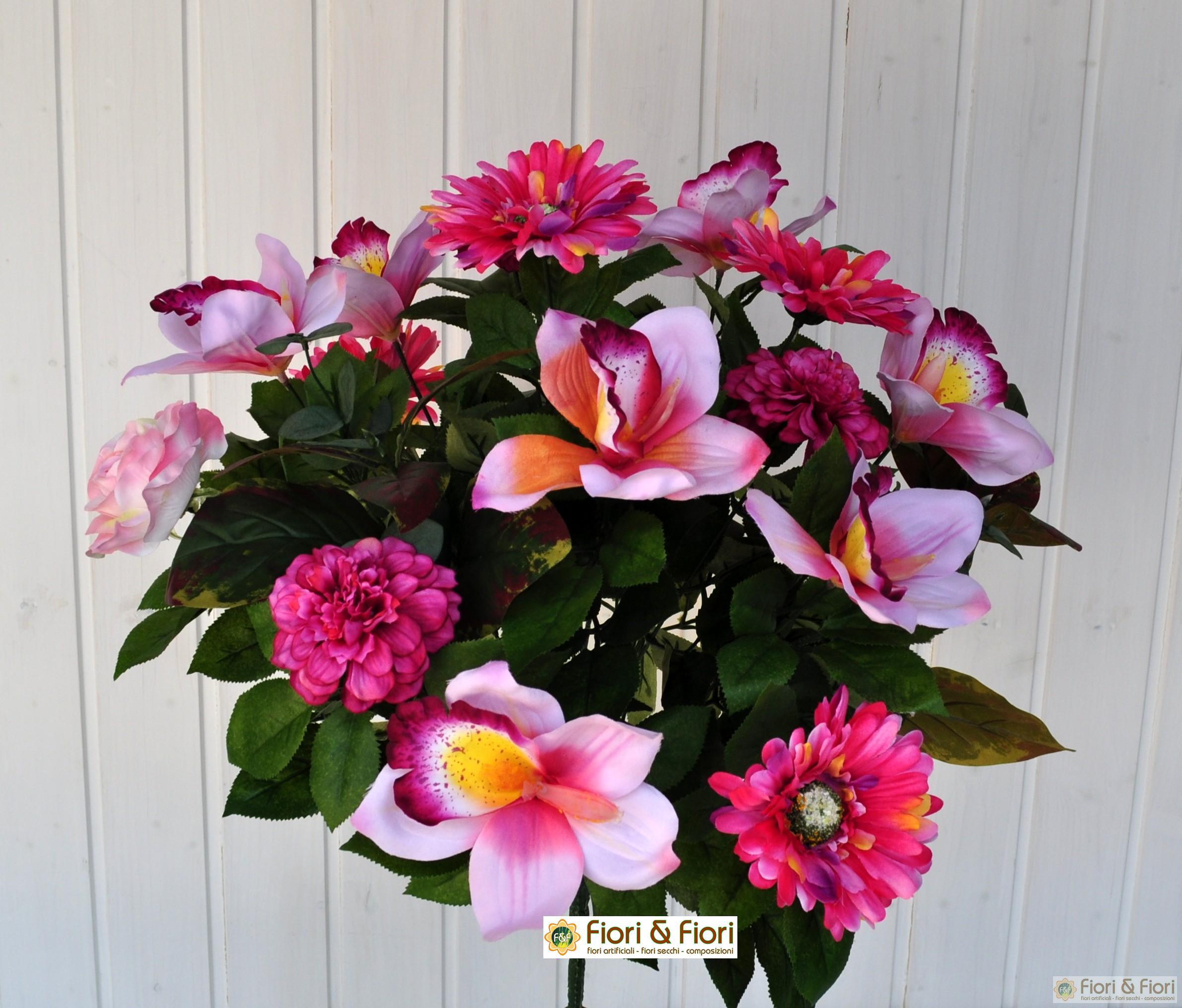 Bouquet fiori artificiali gerbera orchidea rosa for Nuovo stelo orchidea