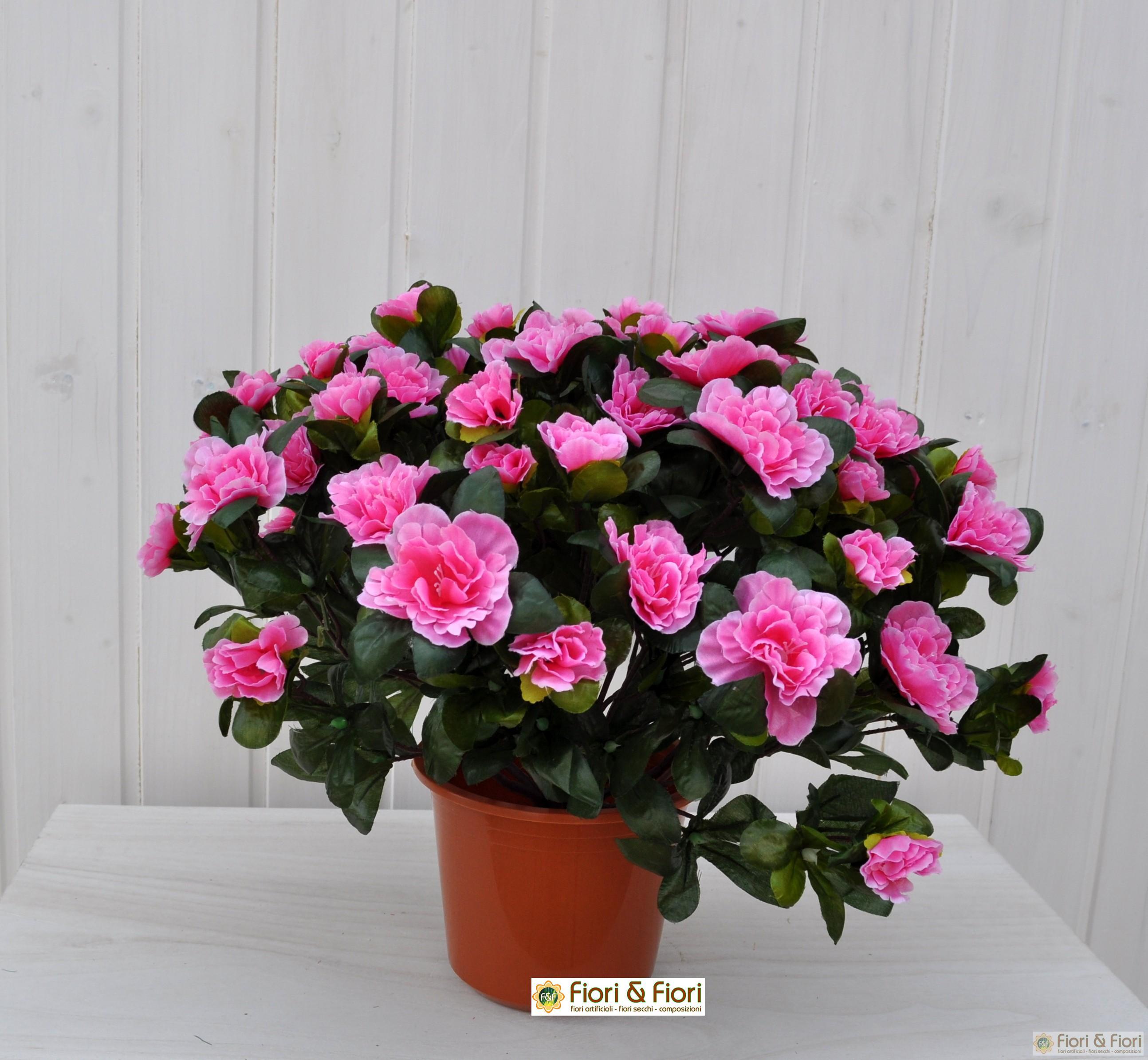 Pianta artificiale Azalea rosa in tessuto di qualità