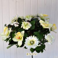 Bouquet fiori artificiali gerbera orchidea bianco