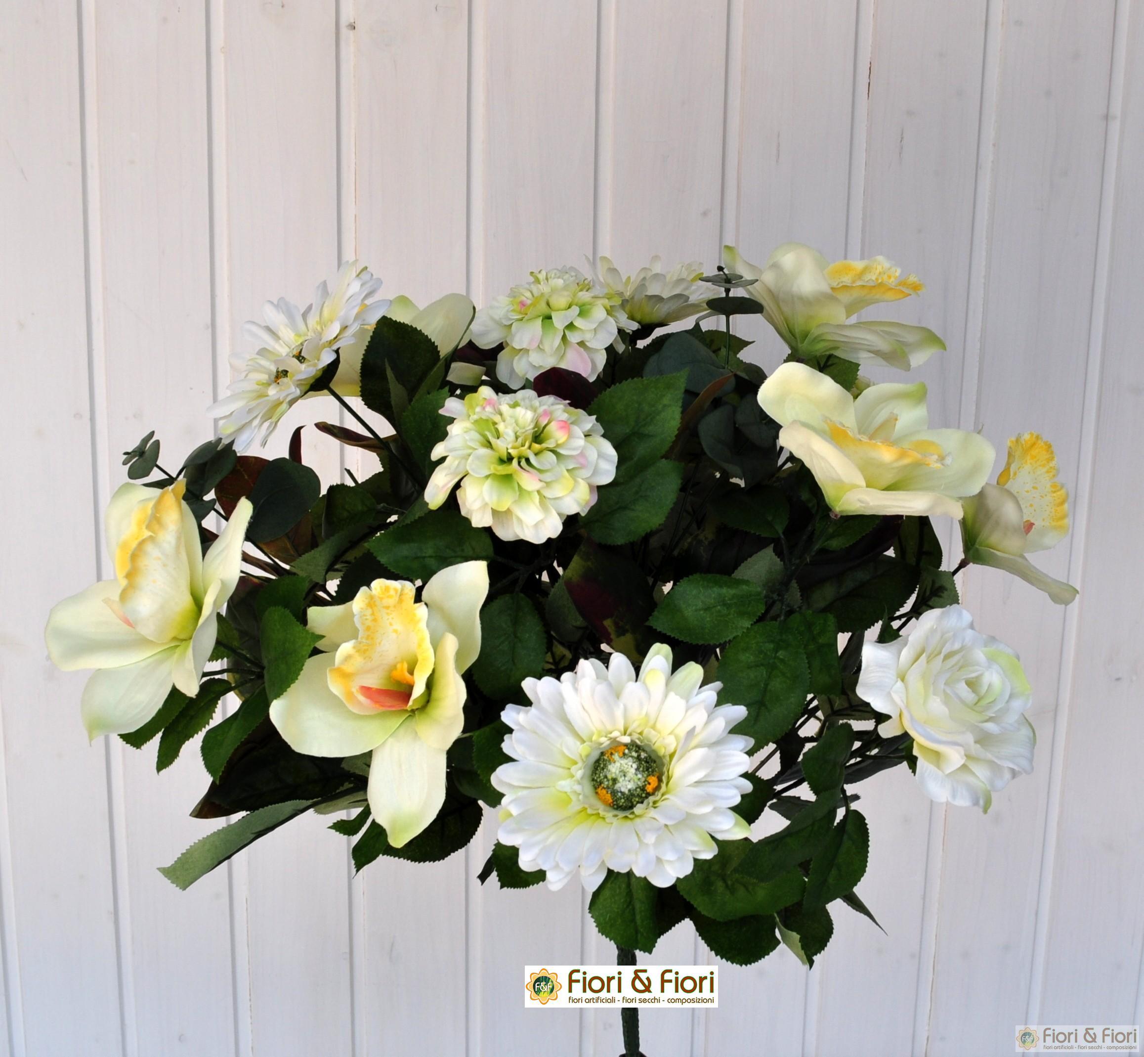 Bouquet fiori artificiali gerbera orchidea bianco for Nuovo stelo orchidea