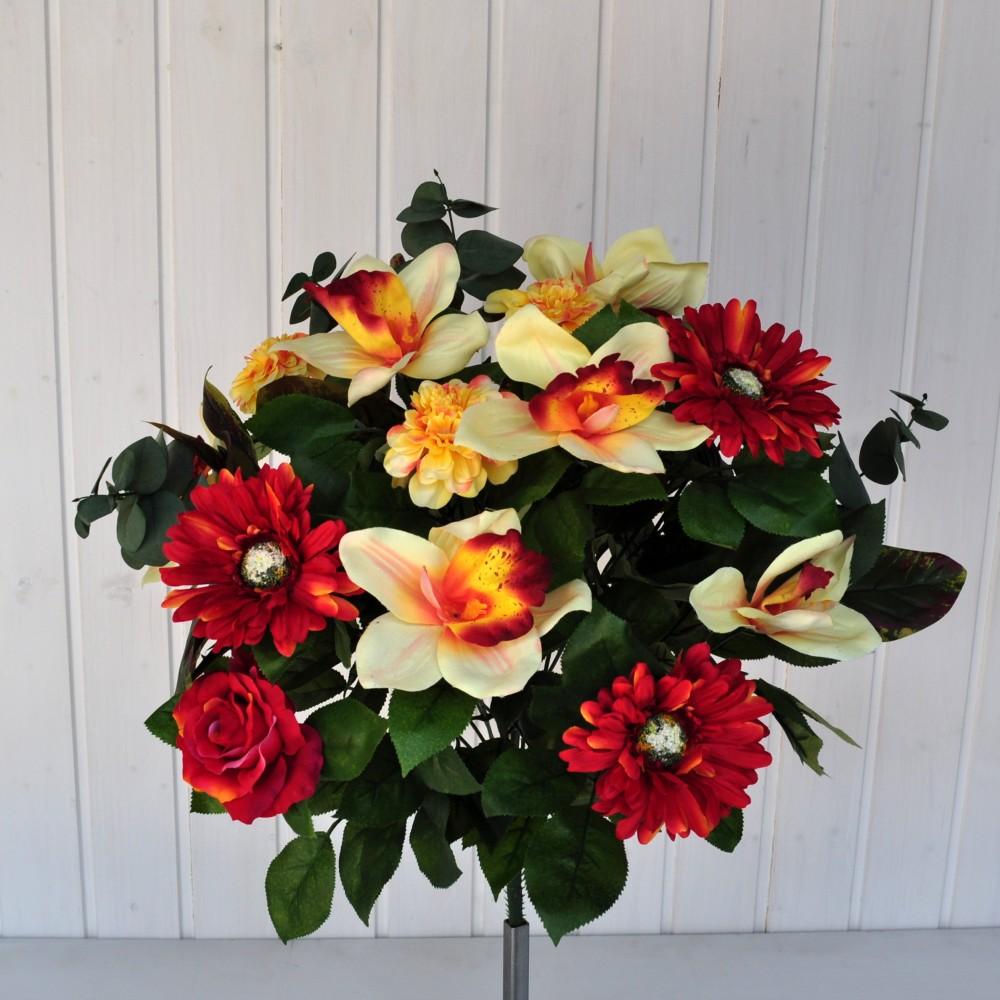 Bouquet fiori artificiali gerbera orchidea rosso fiori for Nuovo stelo orchidea