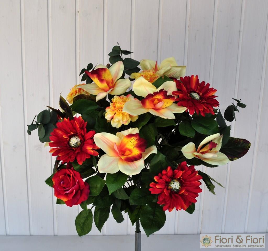 Bouquet fiori artificiali gerbera orchidea rosso fiori for Orchidea finta