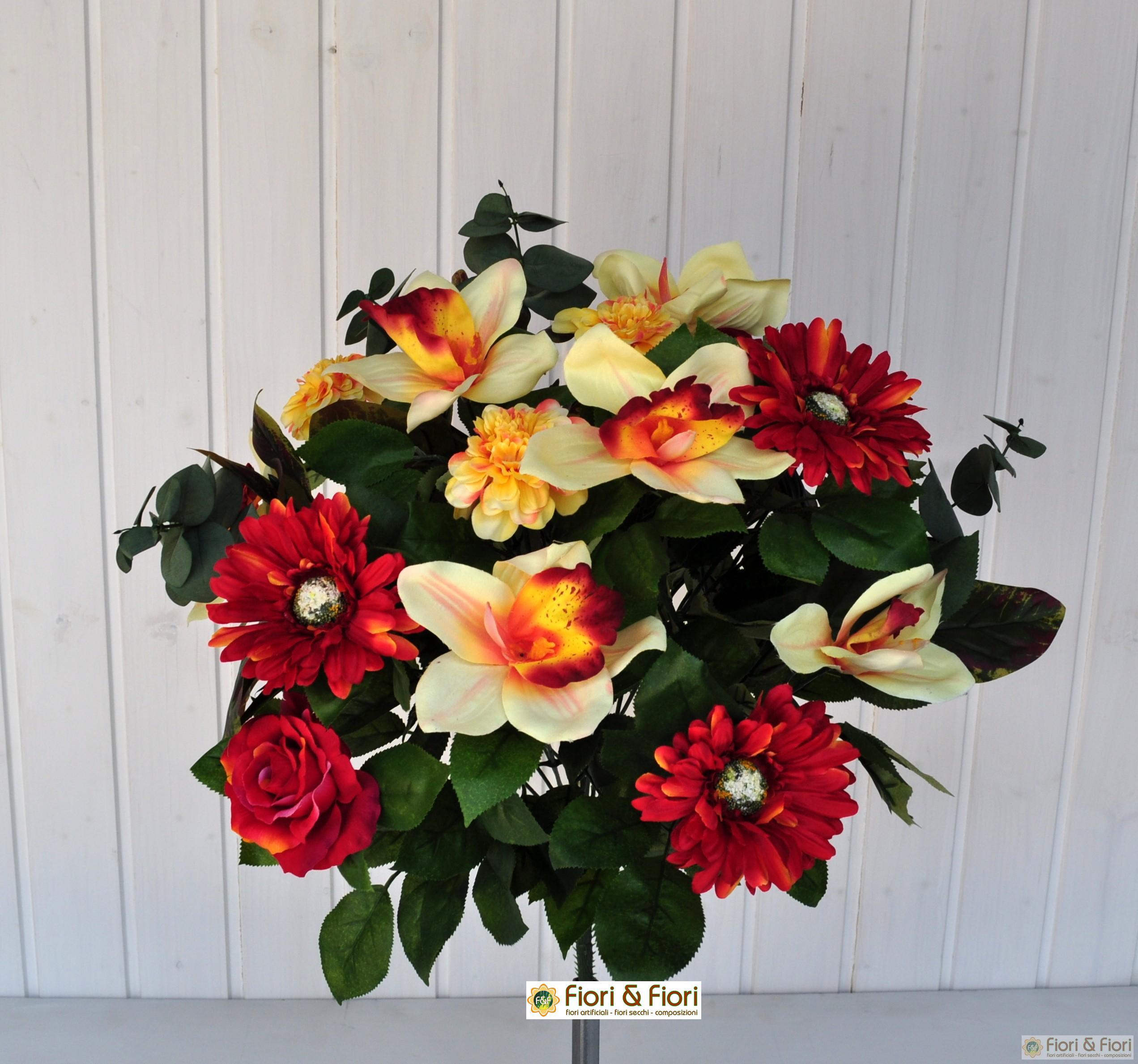 Bouquet fiori artificiali Gerbera Orchidea rosso
