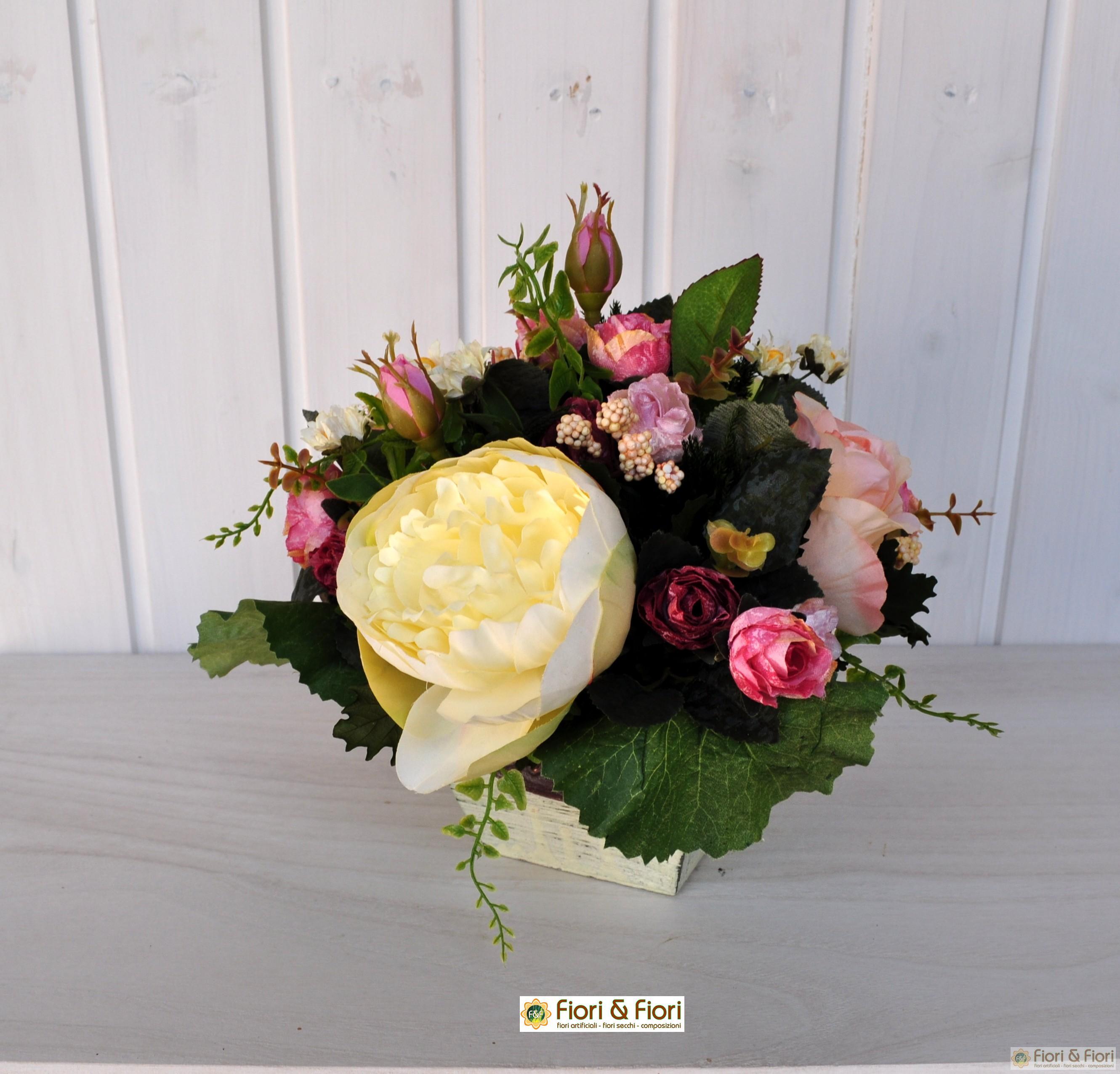 Composizione di fiori artificiali romantik rosa