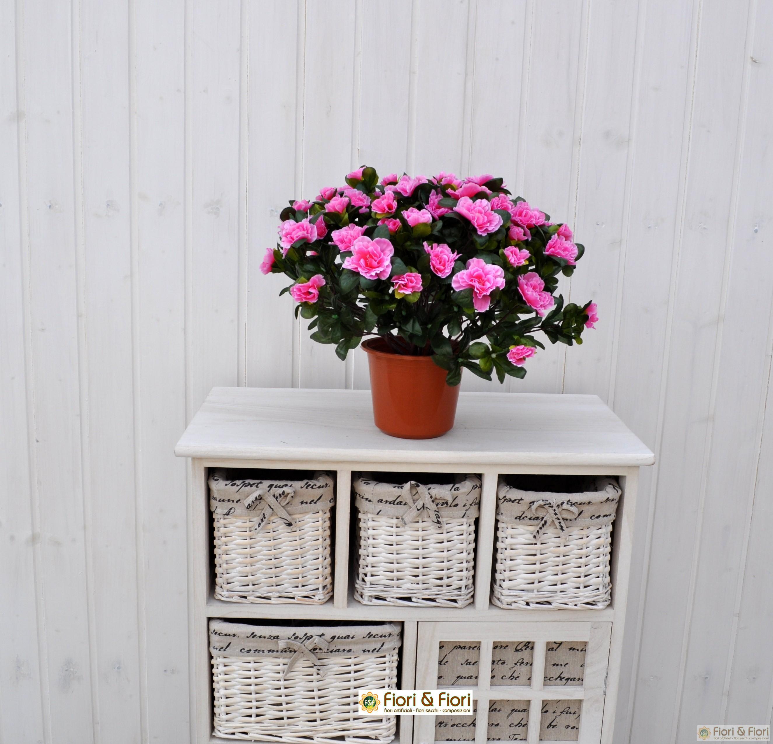 Pianta artificiale azalea rosa in tessuto di ottima qualit for Rosa pianta