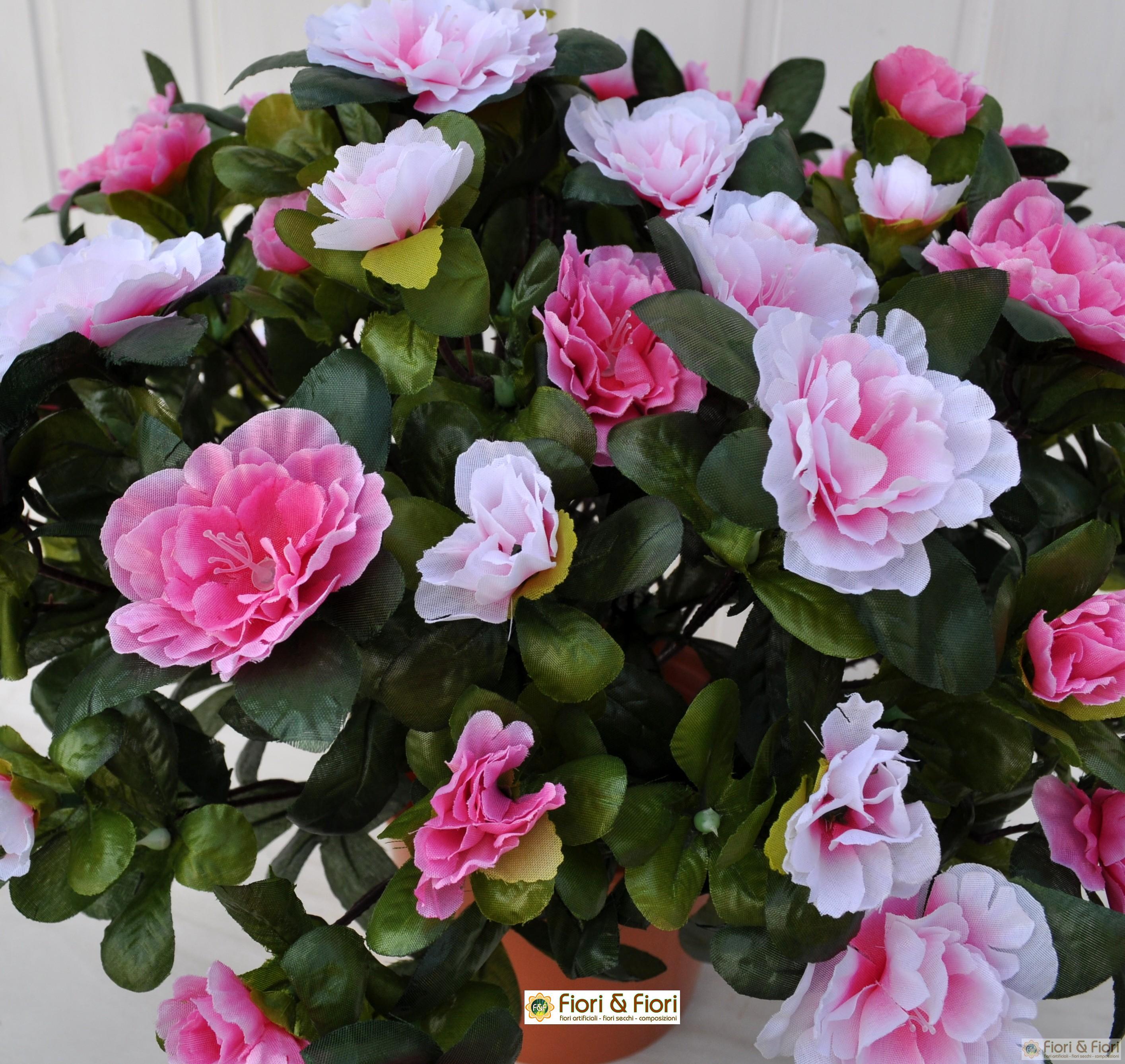 Pianta artificiale azalea bicolore rosa in tessuto for Pianta rosa