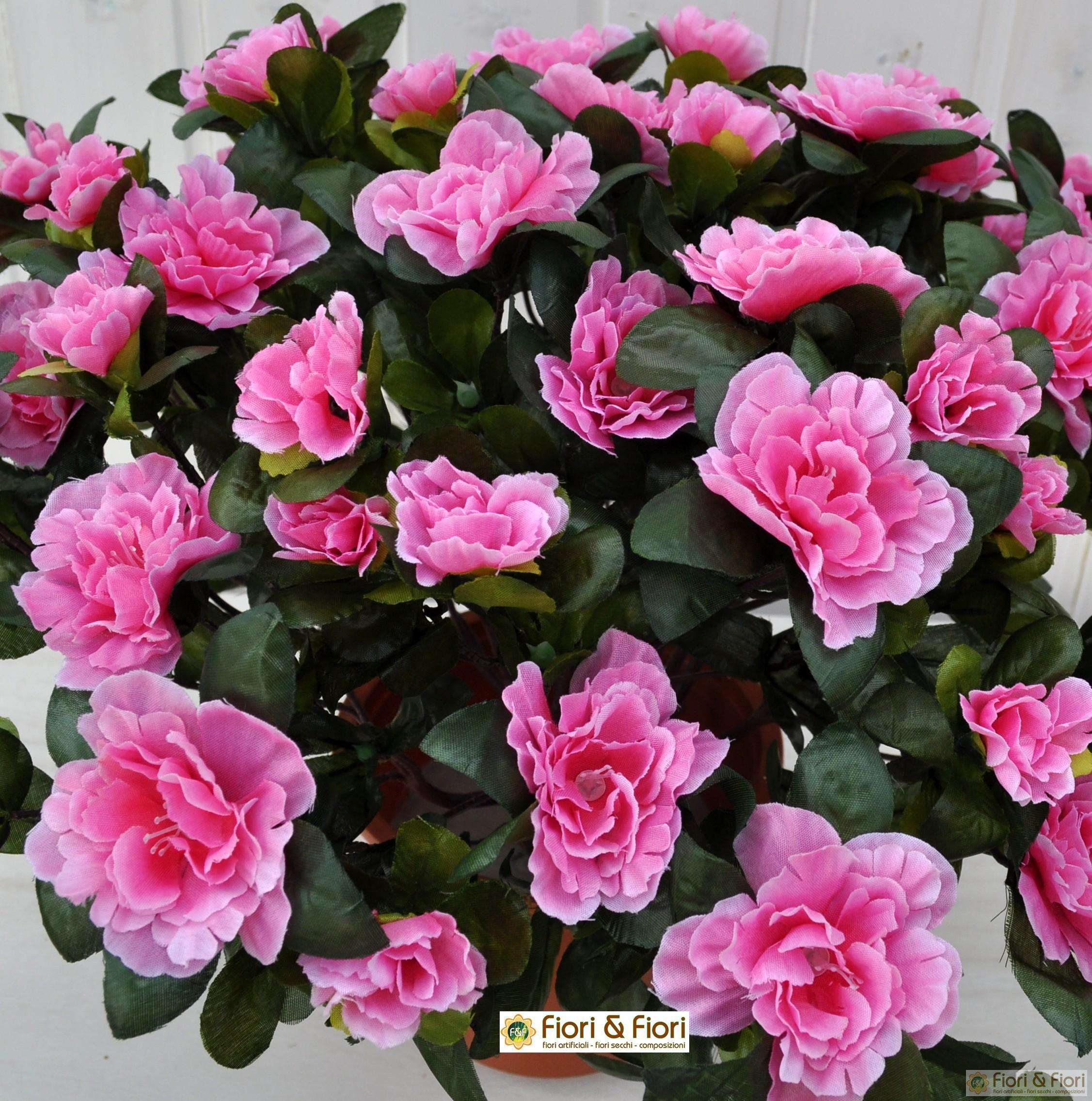 Pianta artificiale azalea rosa in tessuto di qualit - Azalea da interno ...