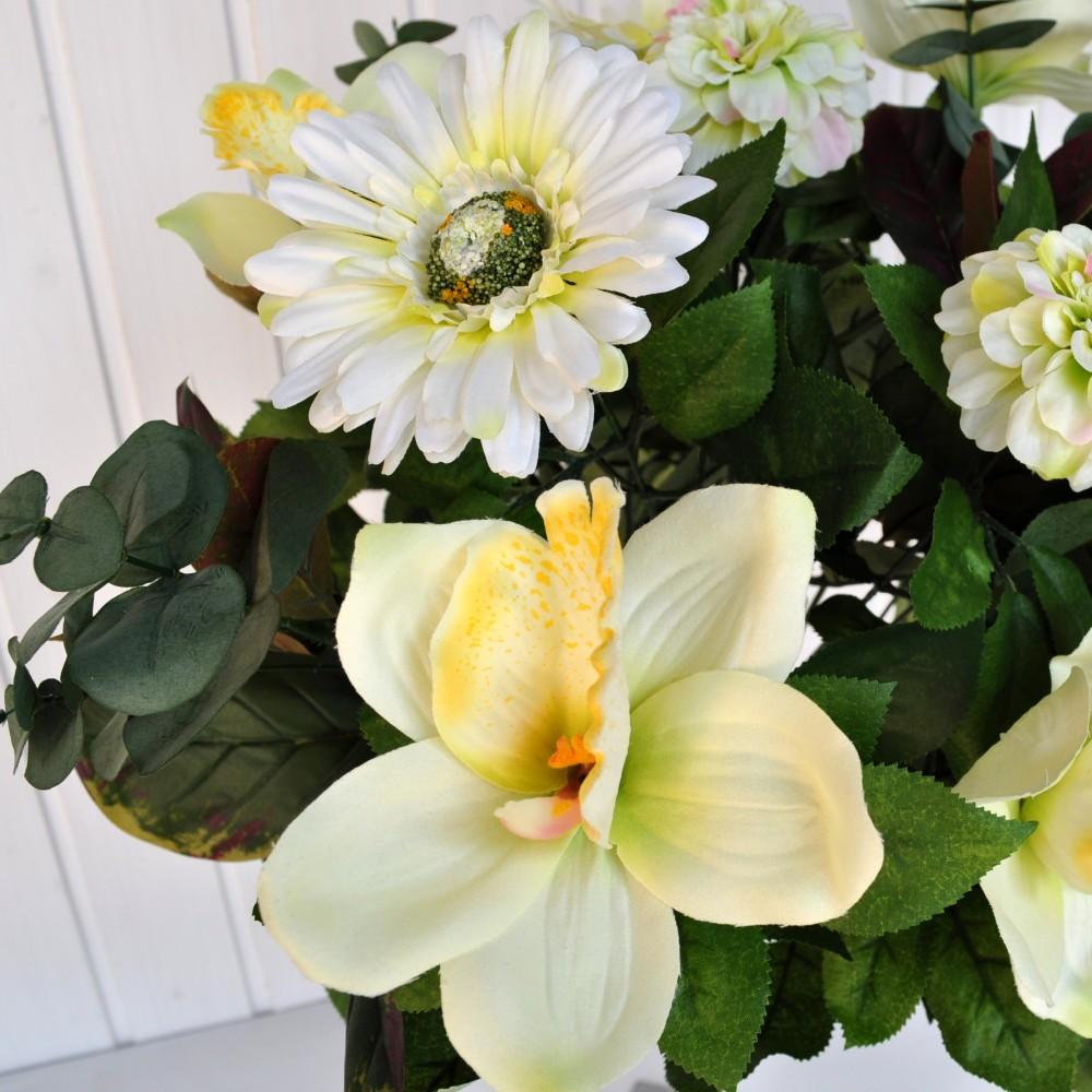 Bouquet fiori artificiali gerbera orchidea bianco fiori for Orchidea finta