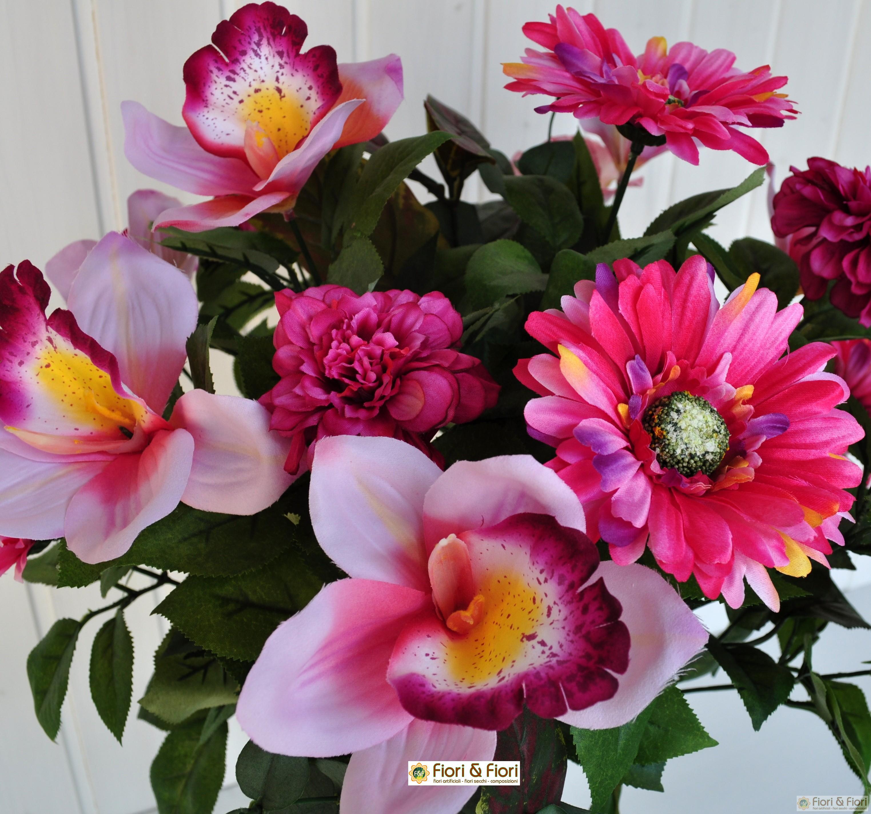Bouquet fiori artificiali gerbera orchidea rosa for Fiori artificiali