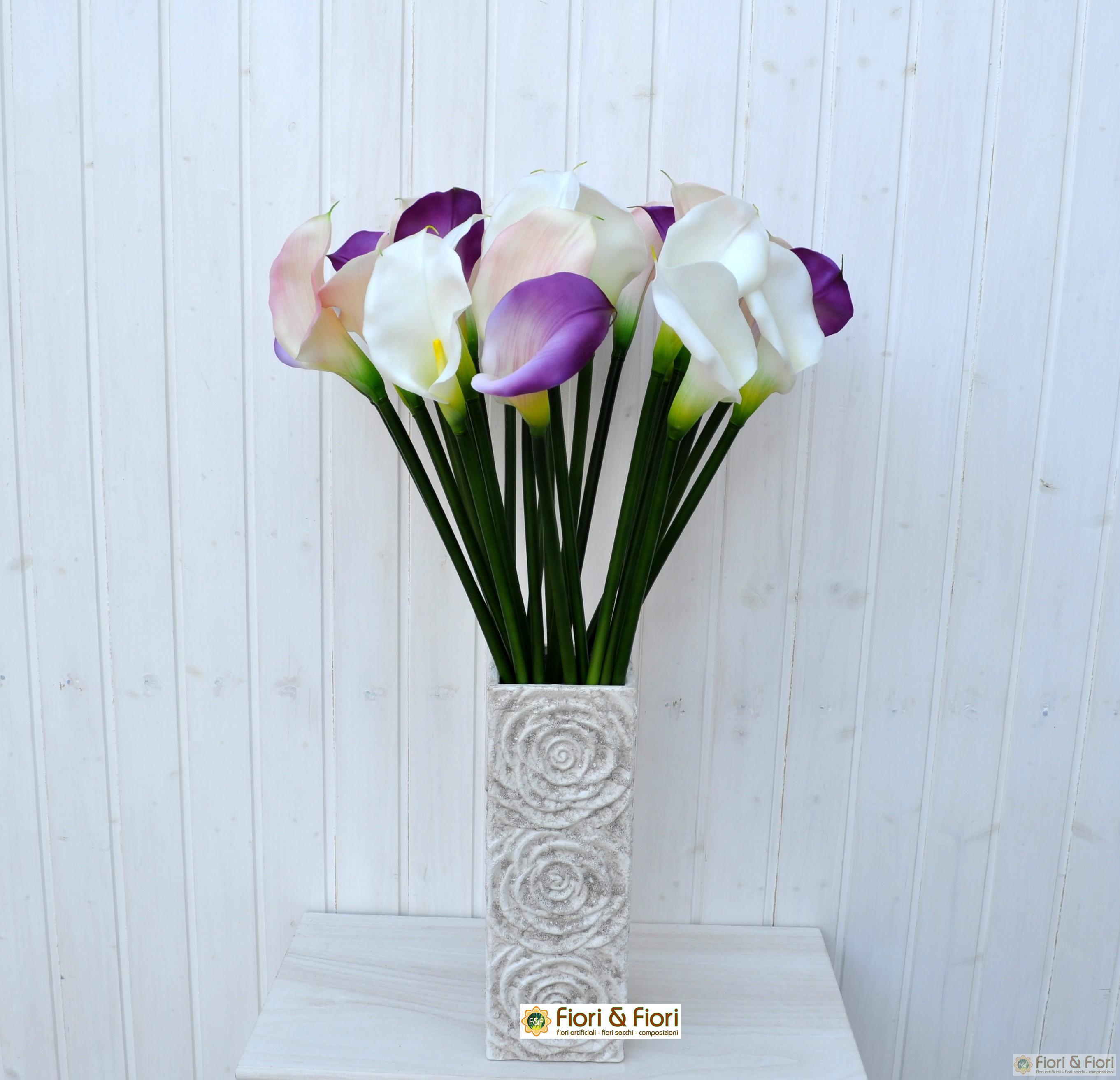 Fiore artificiale calla elegant viola per bouquet di fiori for Calla pianta