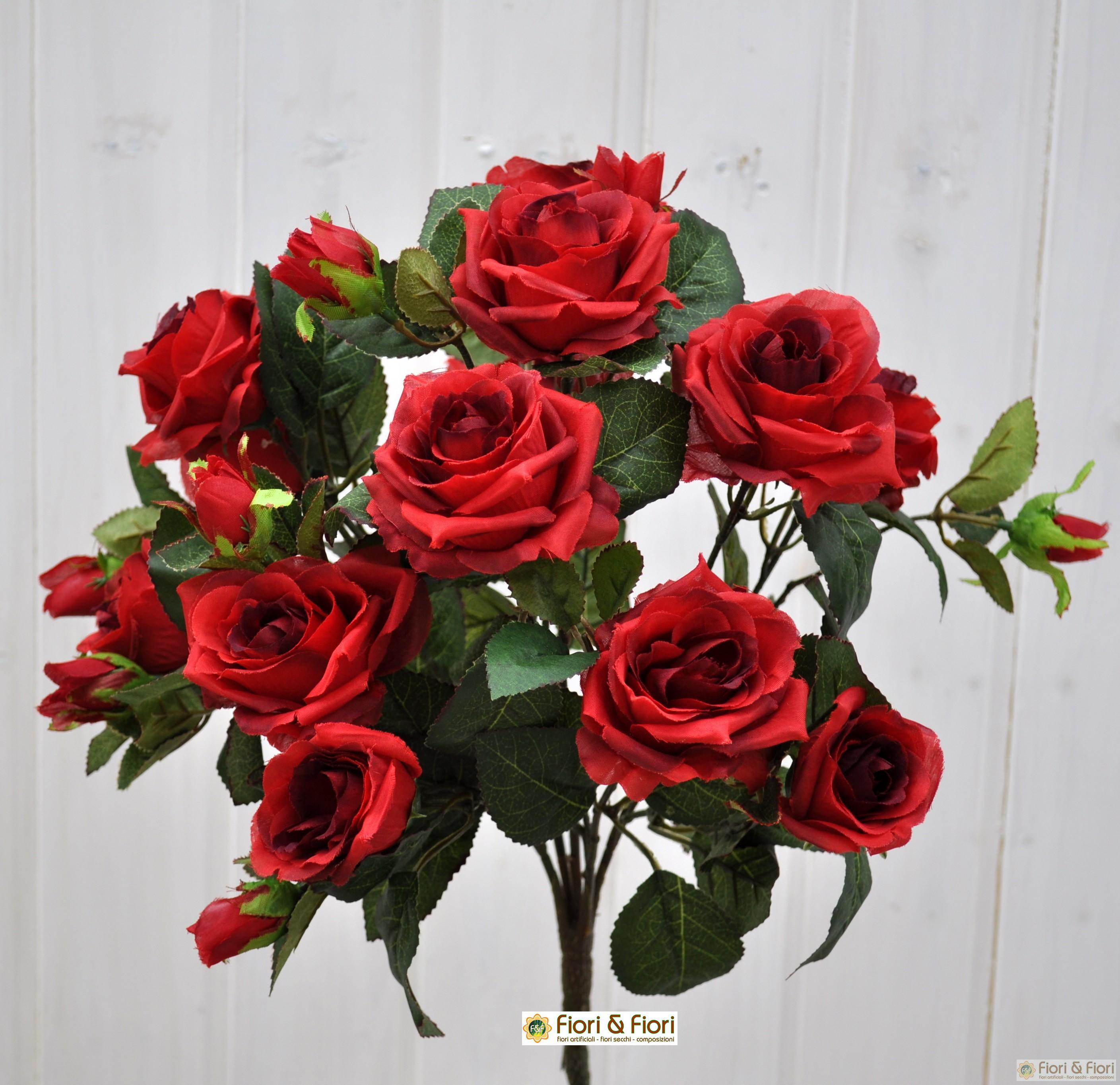 Bouquet di fiori artificiali Rosa Tea rosso