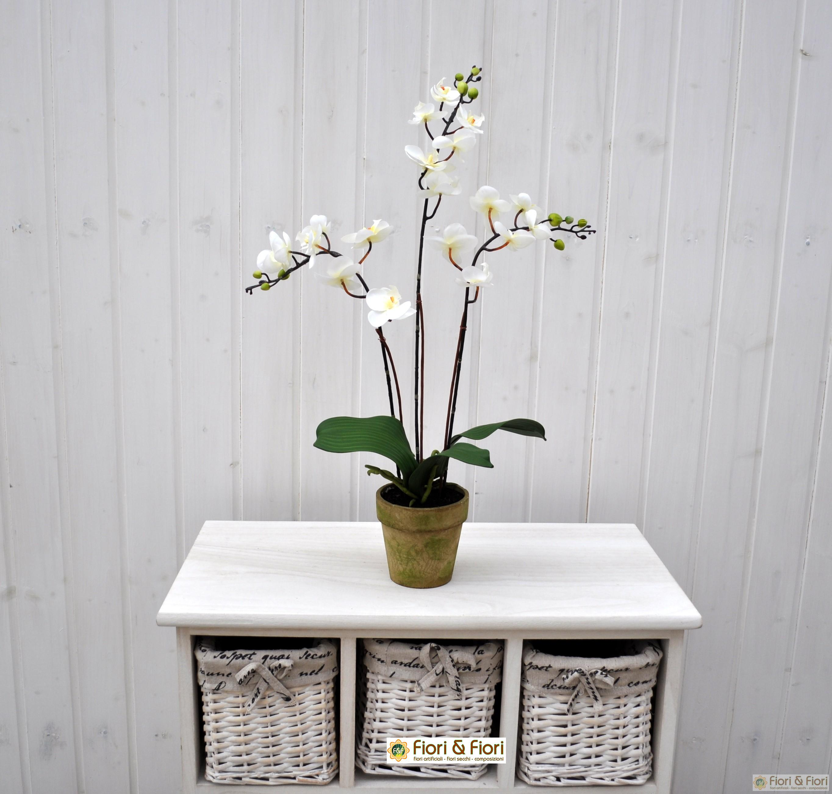 Pianta artificiale orchidea phalaenopsis doris bianco