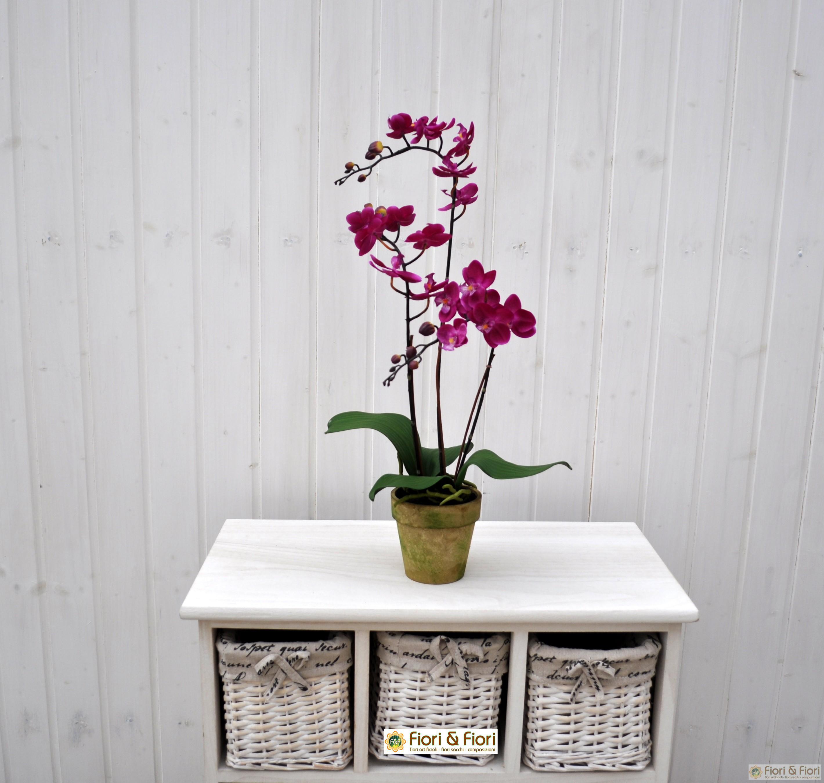 Pianta artificiale orchidea phalaenopsis doris fucsia for Orchidea pianta