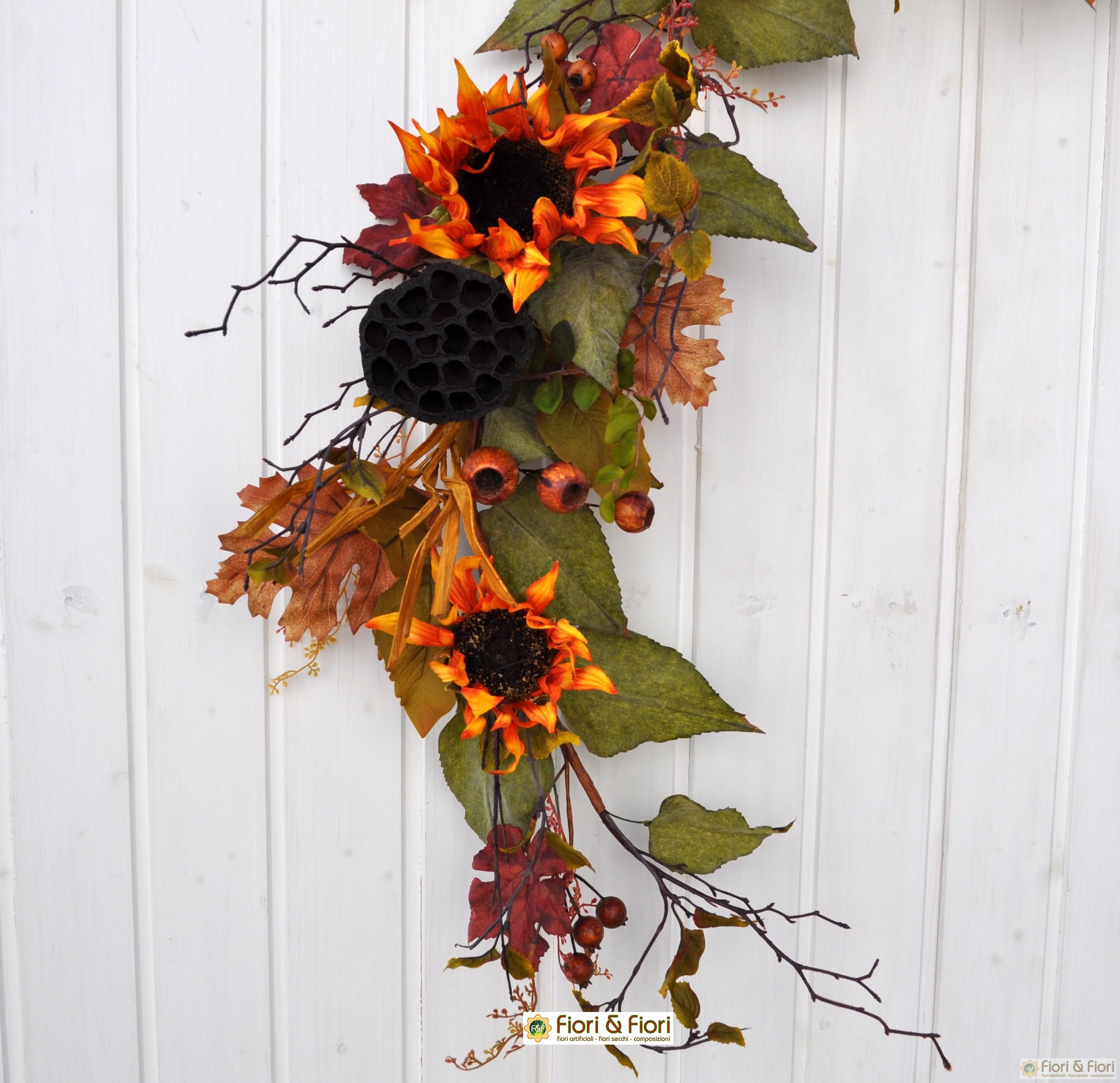 Decorazione di fiori artificiali girasoli rust for Fiori artificiali