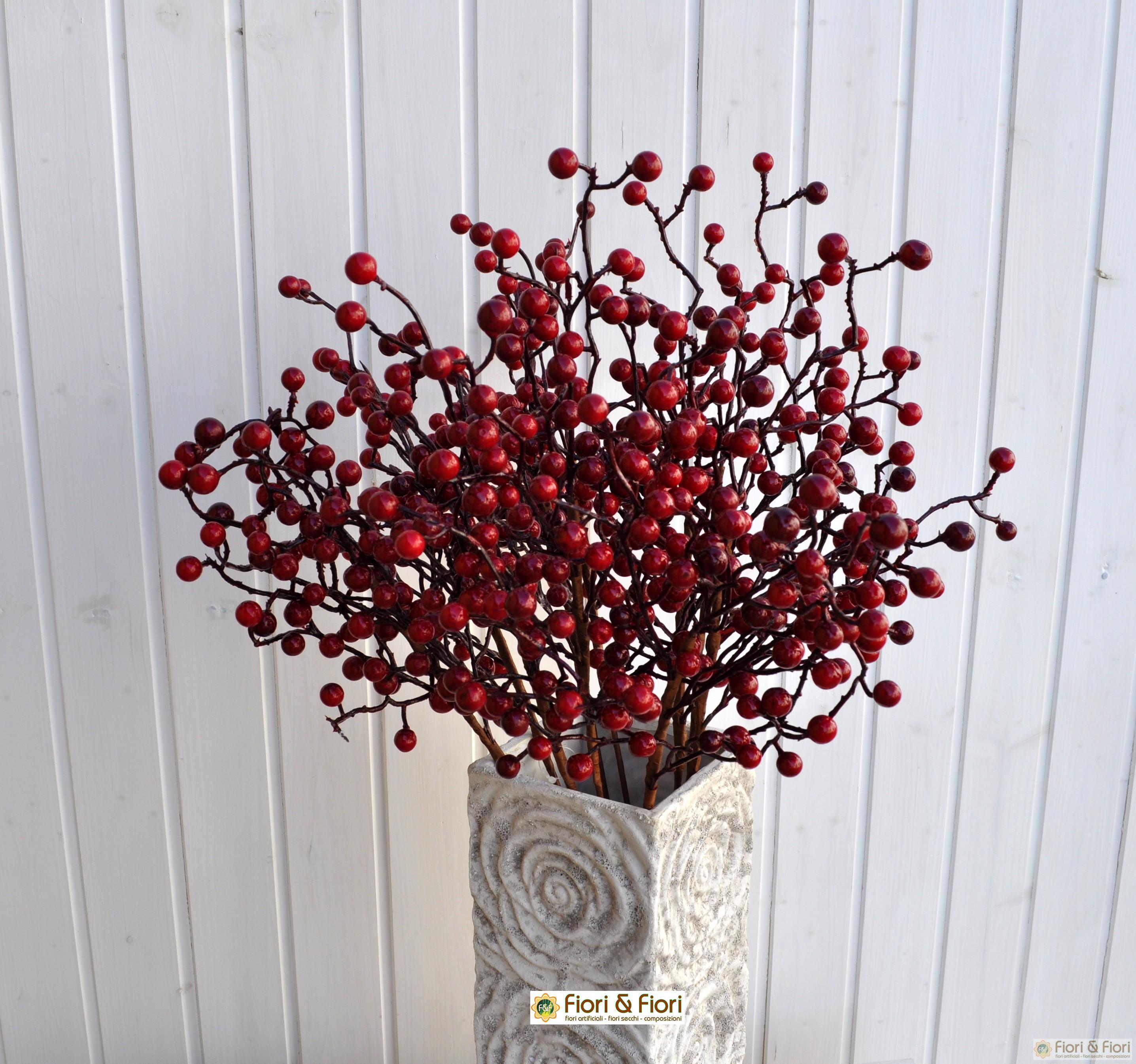 Fiore artificiale bacche rosse per decorazioni di interni for Pianta ornamentale con bacche rosse