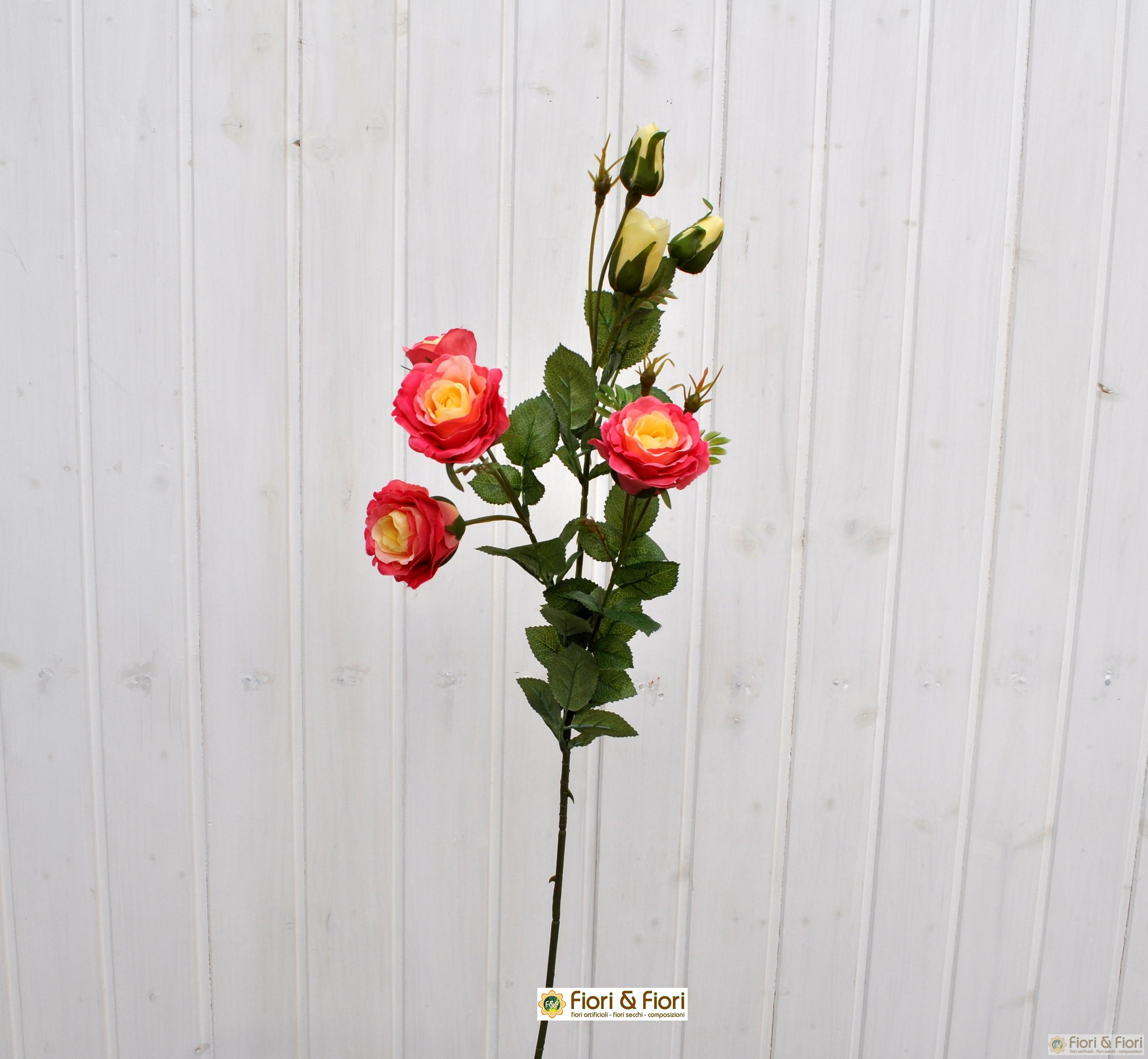 Fiore artificiale rosa henriette fucsia
