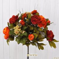 Bouquet fiori artificiali Rose country arancio