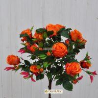 Bouquet rosa artificiale queen elisabeth arancio