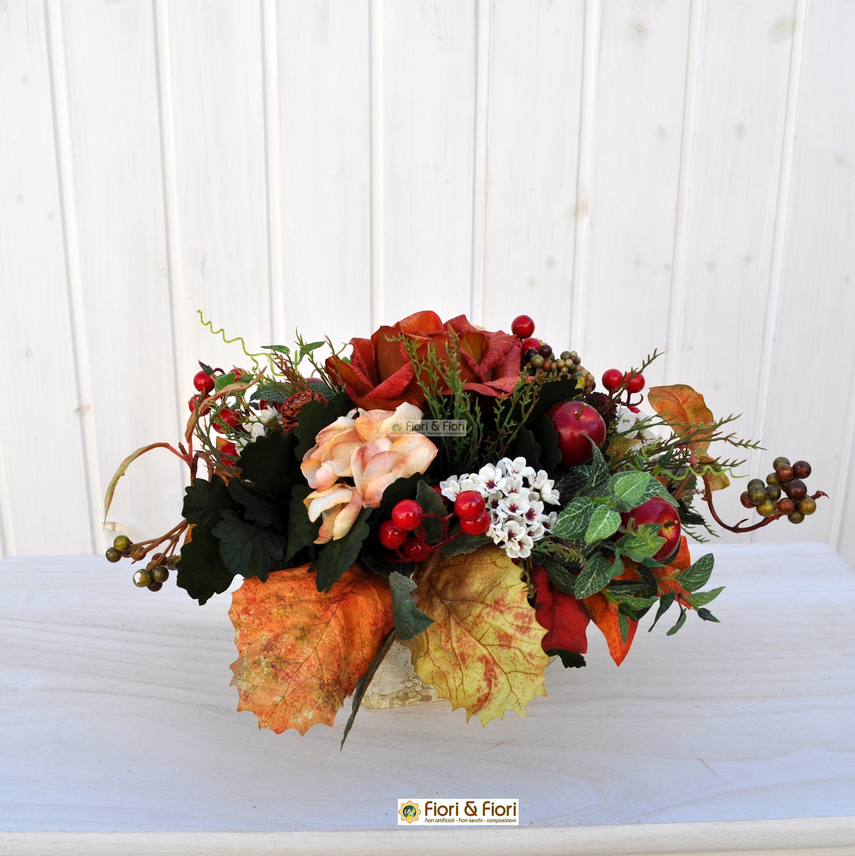 Composizione di fiori artificiali melody in materiale di - Centrotavola natalizi con fiori finti ...