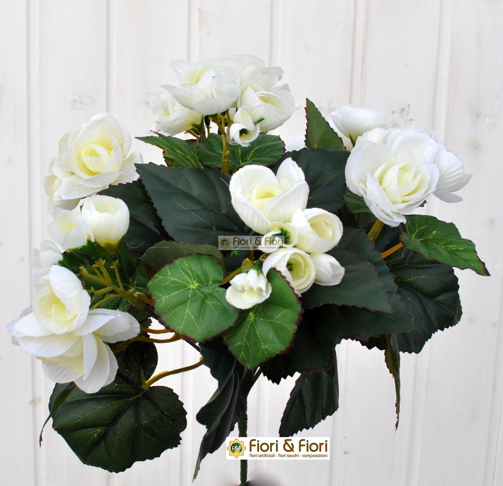 Begonia artificiale bianca per arredamenti di interni ed for Begonia pianta