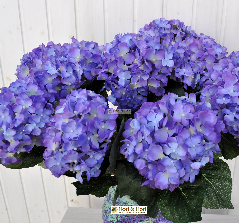 Fiore artificiale ortensia alice bl in tessuto di qualit - Ortensia blu ...
