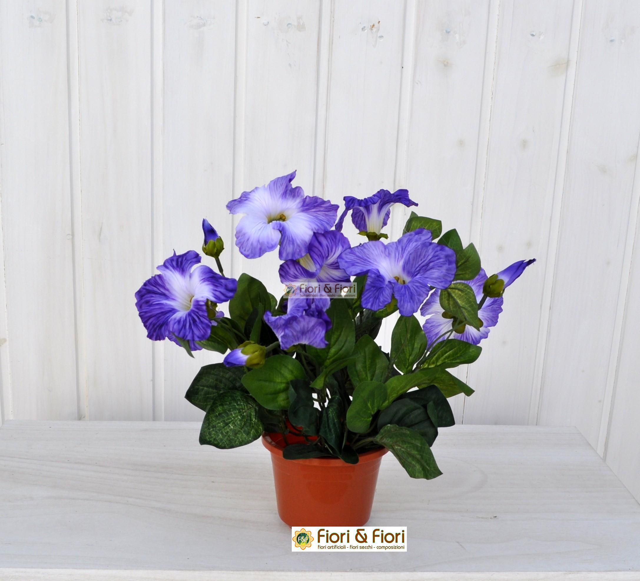 Surfinia pastel artificiale viola in tessuto di qualit for Pianta fiori viola