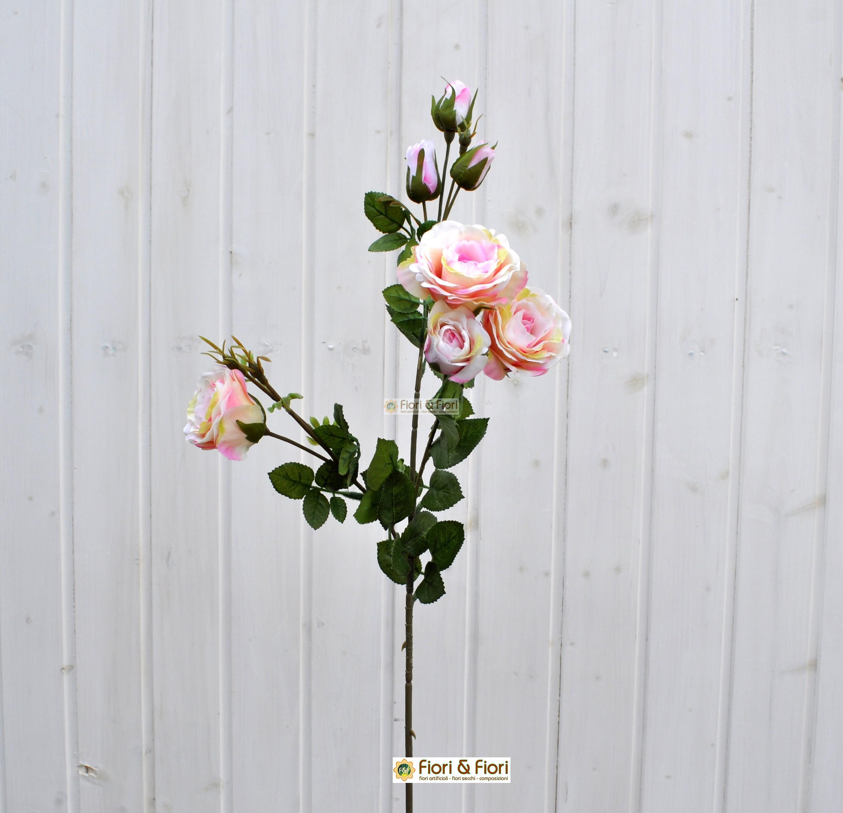 Fiore artificiale rosa henriette rosa screziato
