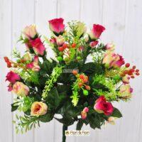 Bouquet boccioli rosa artificiale fucsia