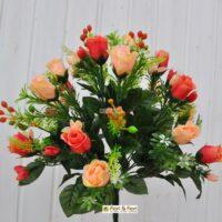 bouquet boccioli rosa artificiale salmone