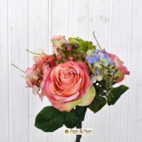bouquet fiori artificiali primavera salmone