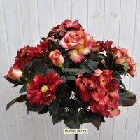 Bouquet fiori artificiali Rosa e Ortensia rosso