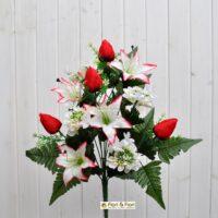 Bouquet fiori artificiali zinnia bianco