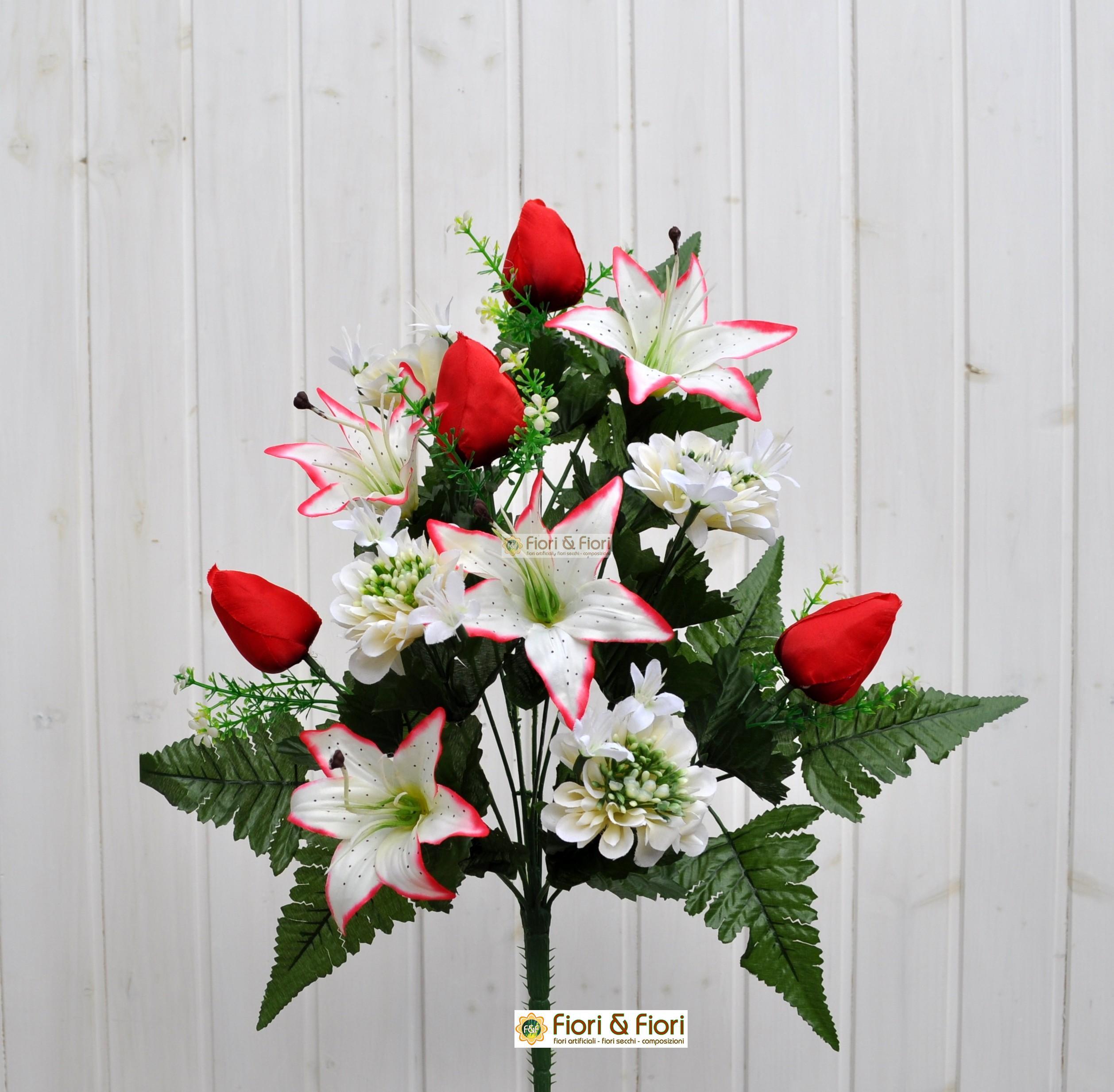 Bouquet fiori artificiali zinnia bianco per esterno for Fiori per esterno